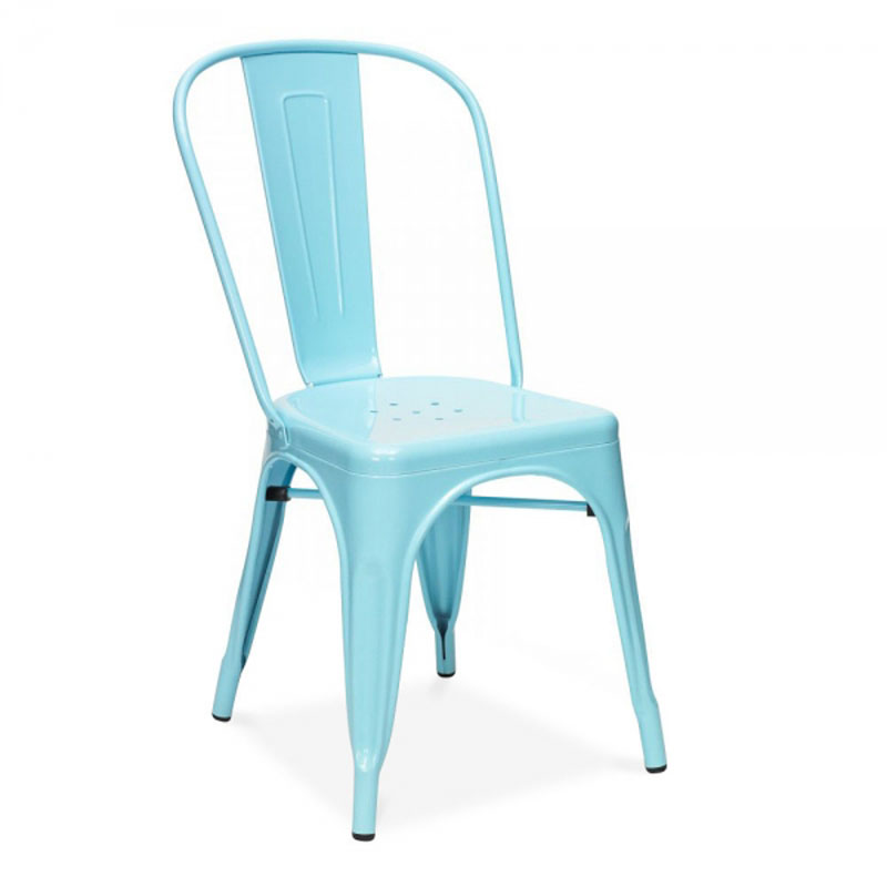 Free Shipping Steel Blue Powder Coated Side Chair free shipping blue vintage side chair