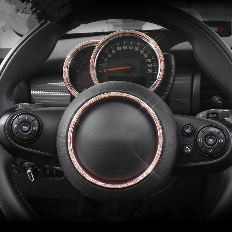 Bling Bling Car Dashboard Meter Display Frame Cover Trim Steering Wheel Center Sticker for Mini Cooper F54 F55 F56 F60 Styling
