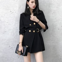 With Belt Double Breasted Blazer women and Jackets Suits Women Blazers Red Polyester Long Work Office Fashion