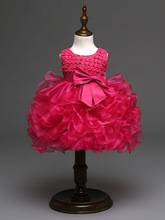 fashion 6 month infant wedding white red purple hot pink first birthday baby party dresses
