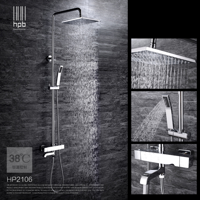"""Bathroom Chrome Finish Wall Shower Set Thermostatic Solid Brass Wall Mounted Rainfall Shower Faucet 8"""" / 10"""" with Hand Shower"""