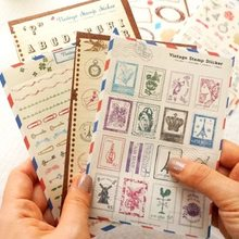 6 sheets/set Vintage Stamp Travel Paper Stickers Photo Album Diary Scrapbook Calendar Decorative Label Numbers Letters Stickers(China)