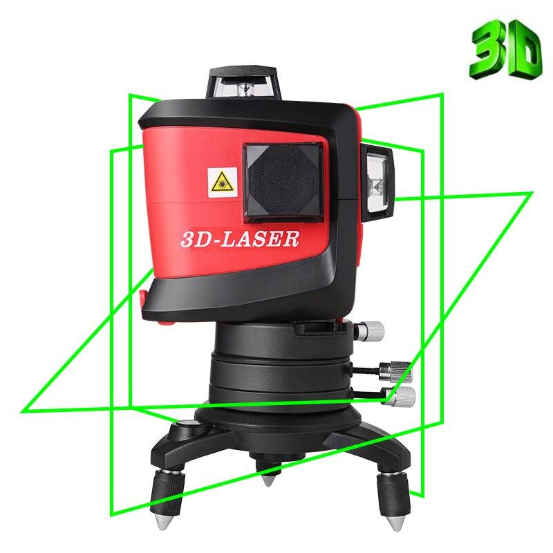 12 lignes 3D MW-93T-G-LI niveau Laser auto-nivelant 360 faisceau Laser vert Super puissant croix horizontale et verticale