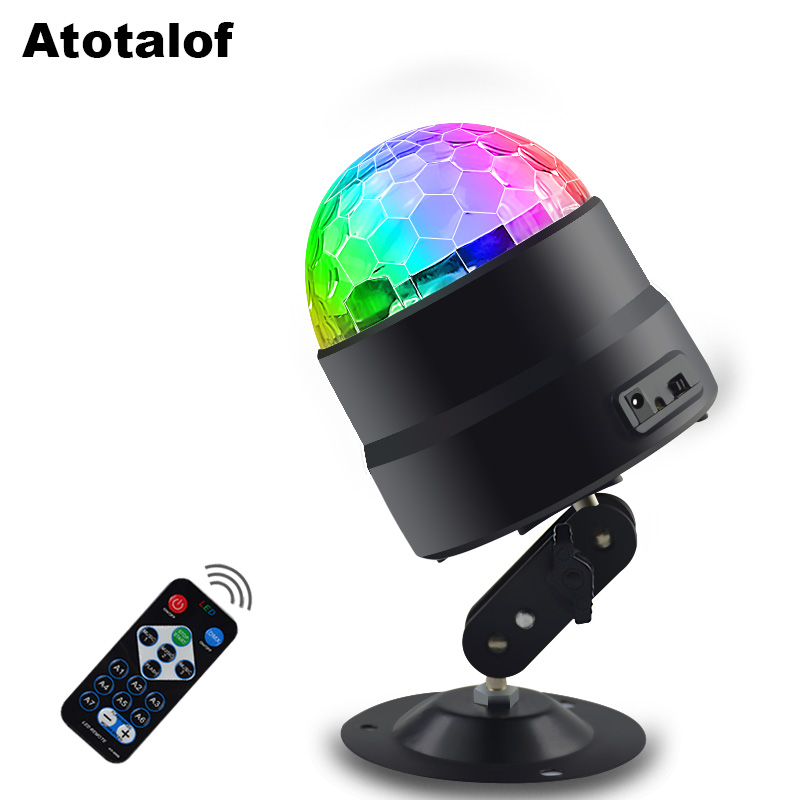 Atotalof USB LED Stage Light RGB Sound Party Lights 5V Sound Activated Rotating DJ Disco Ball Lumiere For Home KTV Christmas