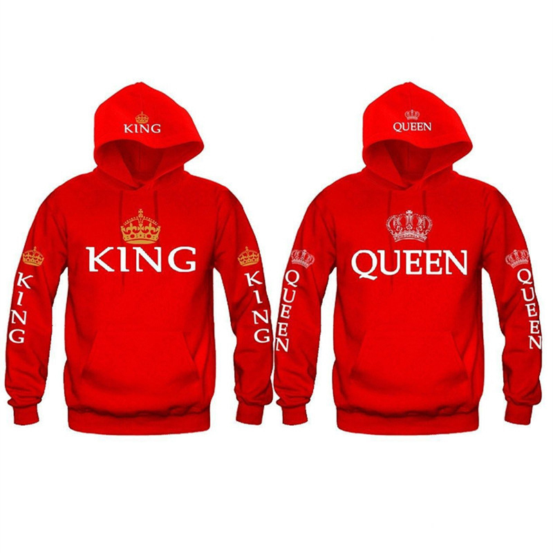 2019 New Fashion King Queen Printed Sweatshirt Lovers Couples Hoodies Hooded Sweatshirt Heigh Quality Casual Pullovers