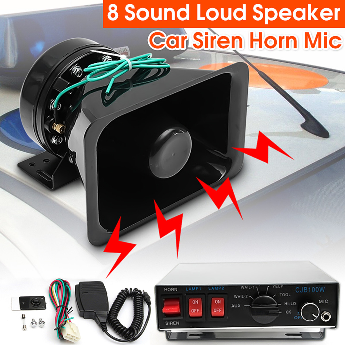 12V 100W 8 Sound Tones 130dB Loud Car Warning Alarm for Fire Siren Horn Speaker with Black Wireless Remote Controller digitalboy car motorcycle dc 12v 100w loud air horn 125db siren sound speaker megaphone alarm for ambulance truck boat 6 tones