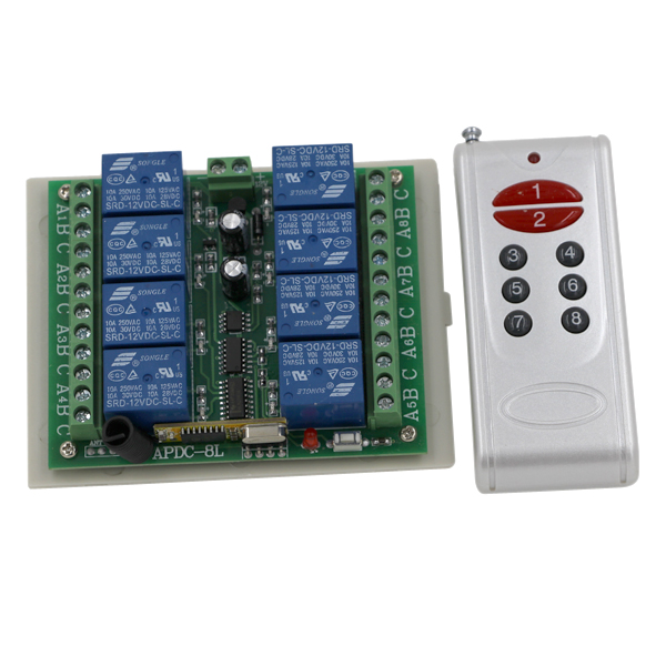 DC12V 8 CH 8CH Radio Controller RF Wireless Remote Control Switch System 315/433 Mhz Transmitter and Receiver 3060 wireless pager system 433 92mhz wireless restaurant table buzzer with monitor and watch receiver 3 display 42 call button