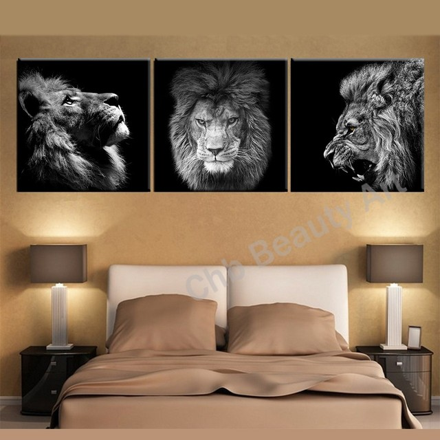 3 Panels Lion king canvas art modern tóm tắt hình ảnh vẽ tranh tường cho living room decoration hình ảnh vải in không khung