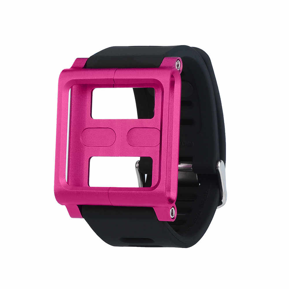 Baru Aluminium Campuran Silicone Case Multi-Touch Watch Band untuk IPod Nano 6/6th Hebat Dropship Claudia