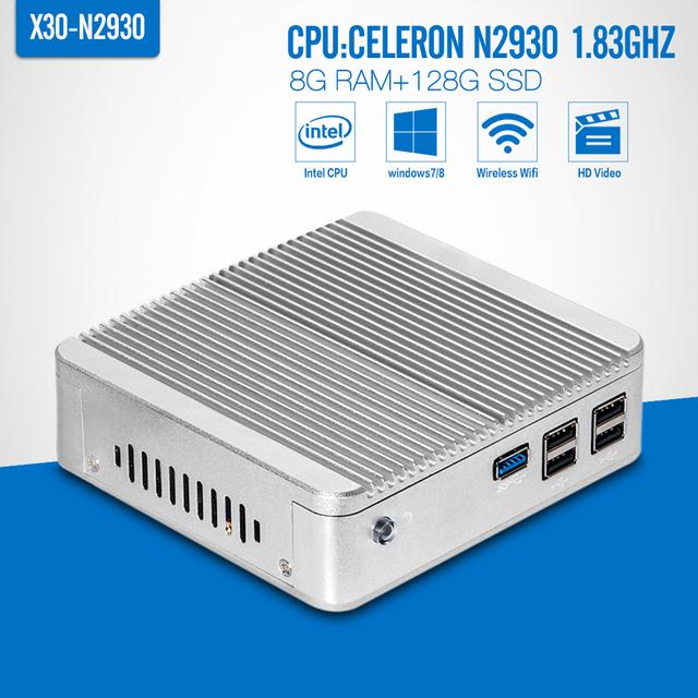 Fanless Mini pc, Celeron n2930, 8 G RAM 128 G ssd, Vídeo hd, Lan, Hdmi + vga, Caixa do computador, Mini anfitriões, Windows 7, Tablet