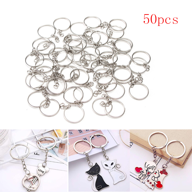 50pcs/set Silver Keychain Key Rings Keyring 23mm Stainless Alloy Circle Key Chain For DIY Making Jewelry Accessories