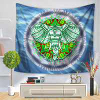 Polyester Tapestry Indian Elephant Mandala Tapestry Wall Hanging Home Decoration Mandala Blanket Tenture Mural Hippie Tapestry