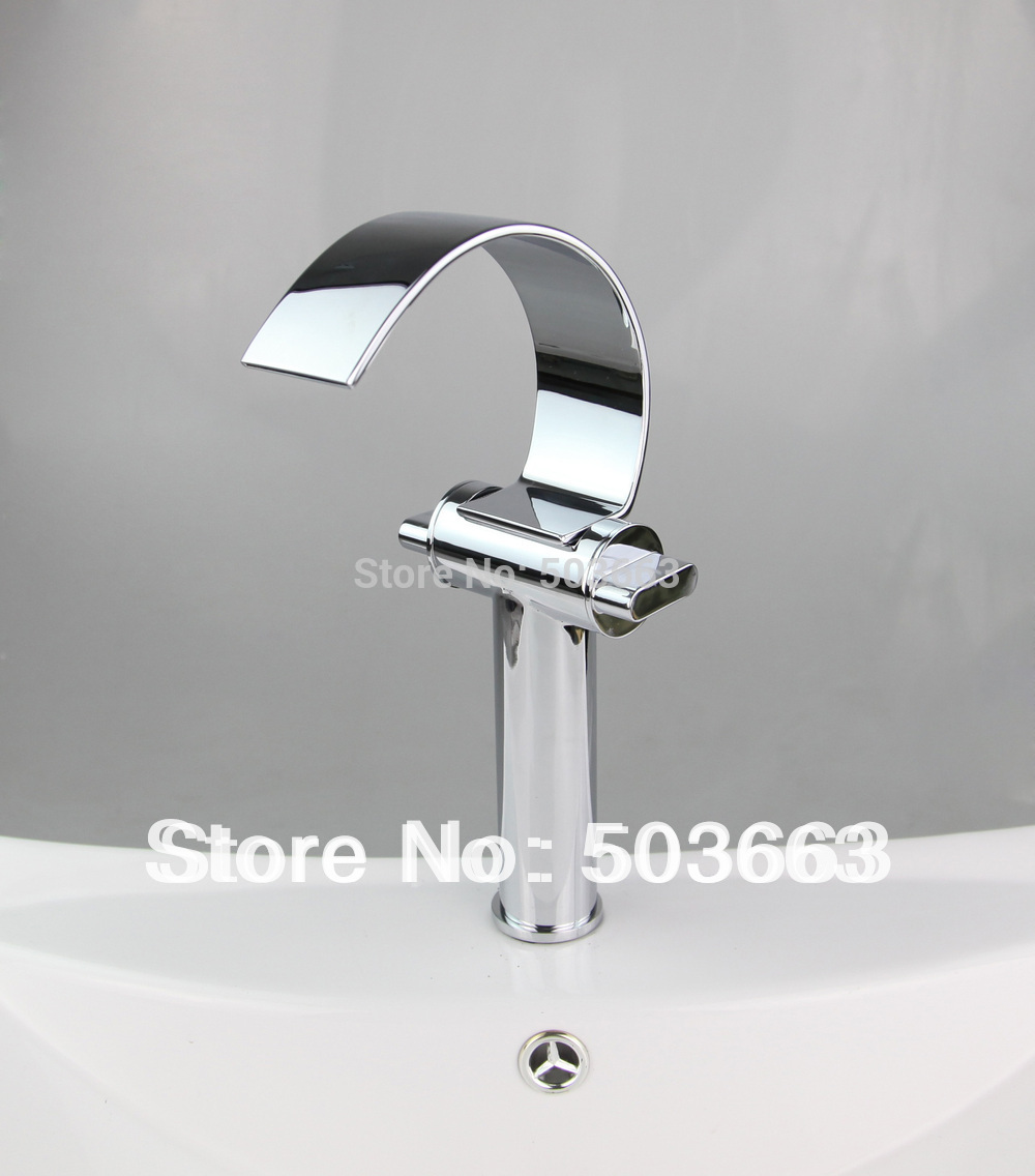 chrome double handle deck mount bathroom faucet basin tap sink faucet vessel mixer vanity faucet L-1000 Mixer Tap Faucet led waterfall bathroom basin faucet dual handle vanity sink mixer tap deck mount