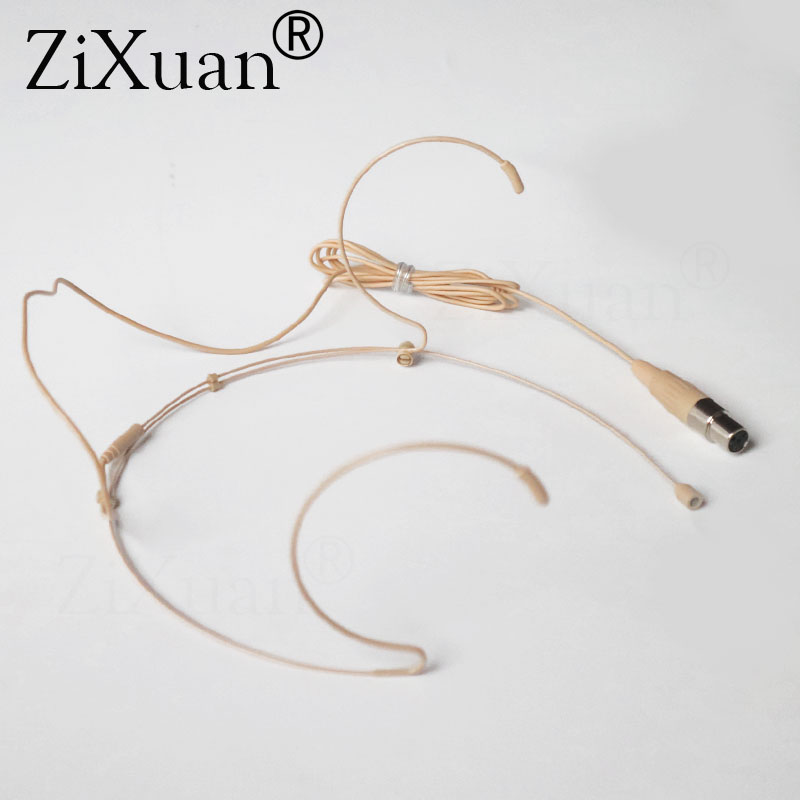 Beige Cardioid Double Ear Hook Headset Microphone For Shure Wireless Interview Speech Sing Record Mini Xlr 4pin Ta4f Connector Live Equipment