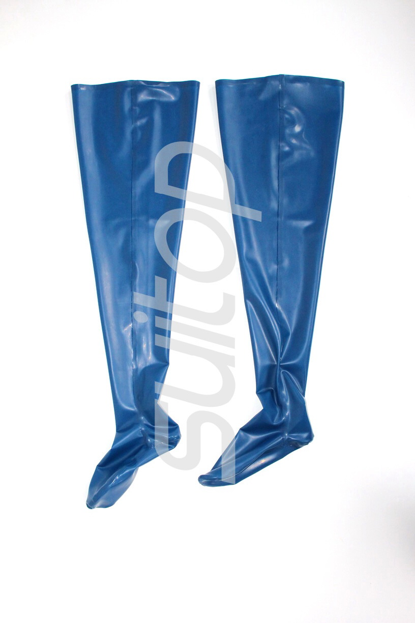 100% natural rubber stockings in hight quanlity level latex in blue