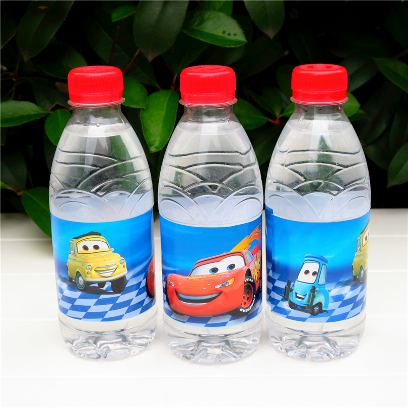 12pcs cartoon Cars water bottle label candy bar decoration kids birthday party supplies baby shower