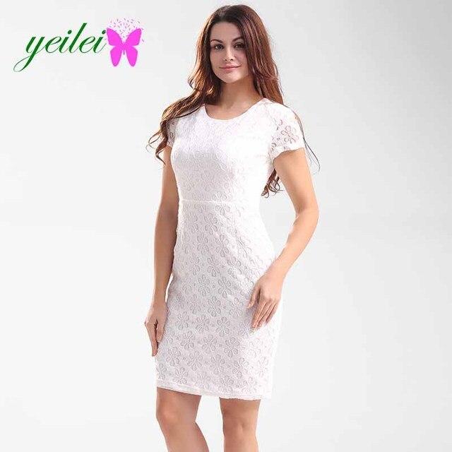 ae554122ead878 Dames witte jurk korte mouw lace jurk taille taille effen kleur zomer mori  meisje streng jurkjes