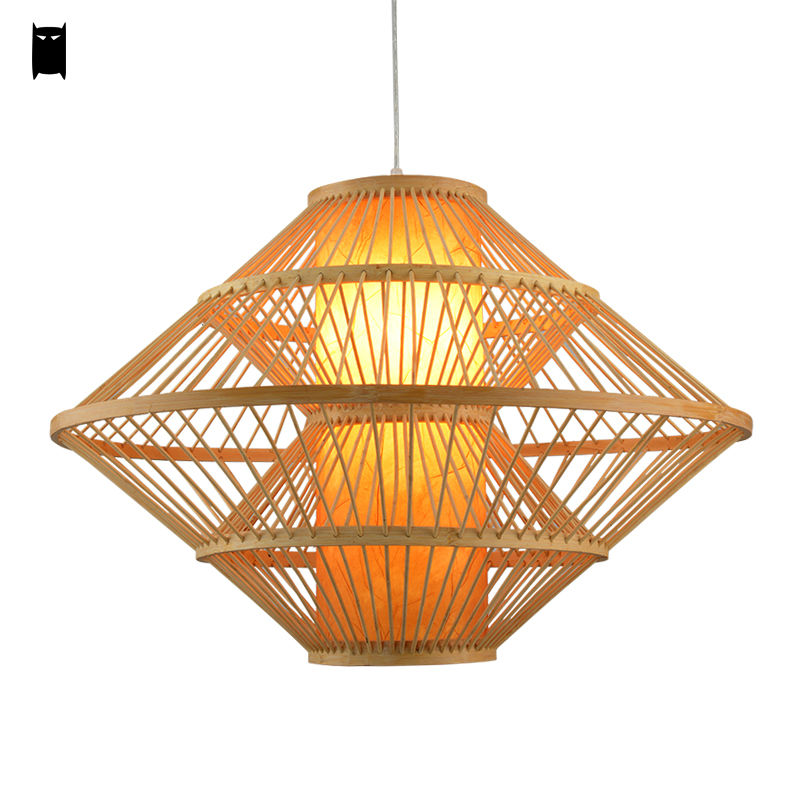 Big Bamboo Wicker Rattan Pendant Light Fixture Asia Korean Rustic Country Hanging Ceiling Lamp Suspended Luminaire Lustre Indoor new arrival modern chinese style bamboo wool lamps rustic bamboo pendant light 3015 free shipping