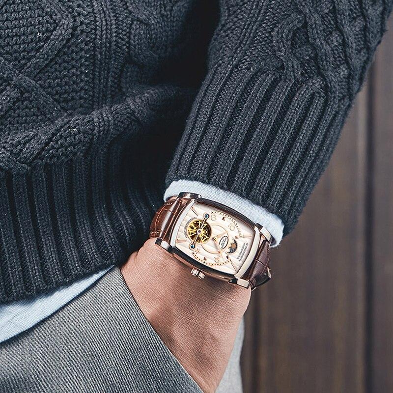 GUANQIN Rechthoekige Luxe Tourbillon heren Mechanische Horloge 3Bar Waterdichte Lederen Automatische Horloge Mannen Erkek Kol Saati-in Mechanische Horloges van Horloges op  Groep 3
