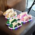 2017 crianças de moda casual crianças meninos meninas shoes esporte running shoes com bling do diodo emissor de luz 3 cores shoes 26-30 para 3-6year