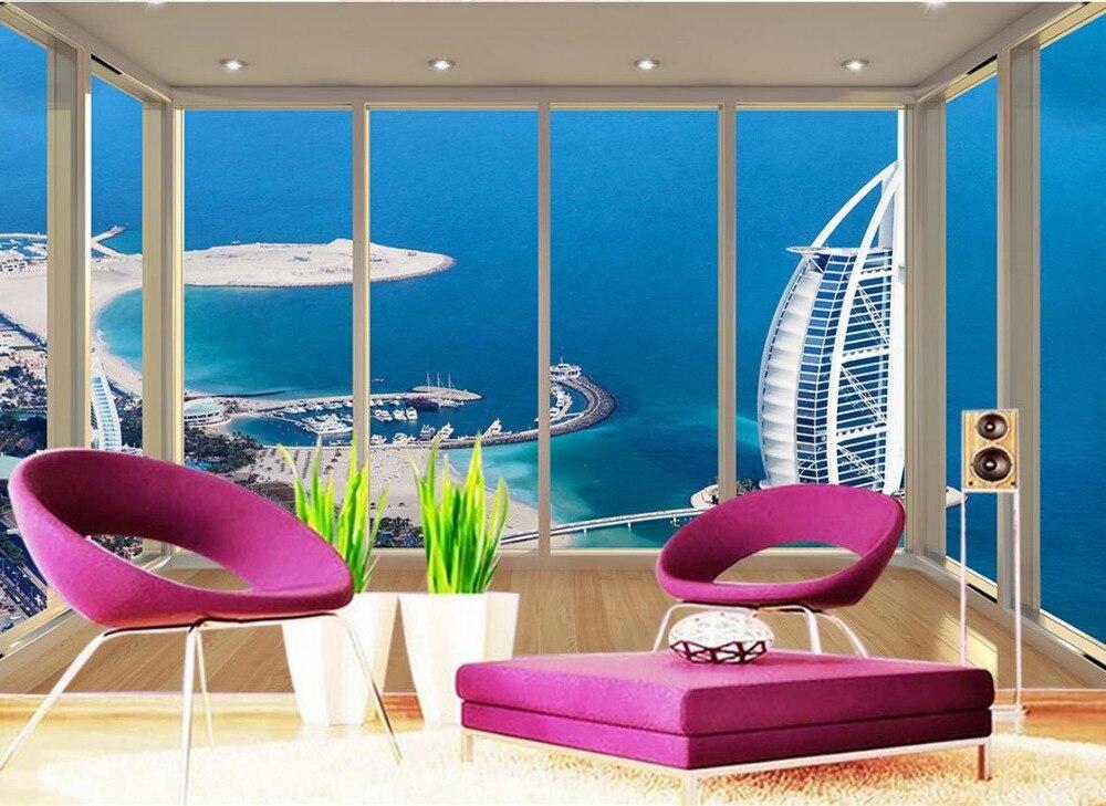 Обои 3d стереоскопического Дубай Yacht Отель пол балкон ТВ фоне обоев 3d Настенные обои ...