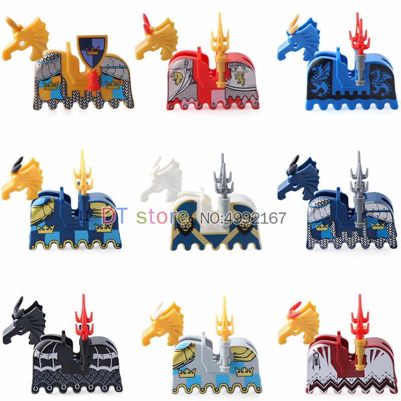 ขายเดียวยุคกลาง Lord of the Rings ปราสาทอานสีดำ War Horse Saddle อาคารบล็อกอิฐของเล่น AX9822 AX9821