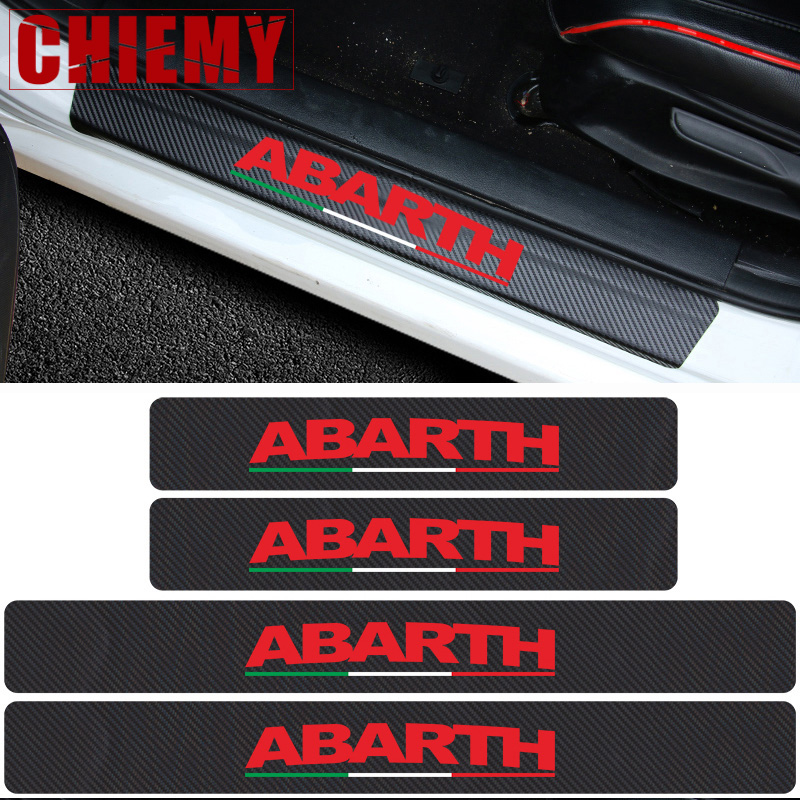 Car Styling Abarth 4pcs Italy Flag stickers Carbon Fibre car door sill protector sticker for Fiat Viaggio Punto 124 125 500-in Car Stickers from Automobiles & Motorcycles