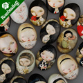 18x25mm oval pattern glass cabochon,mixed cartoon girl pictures,flat back,thickness 6mm,sold 20pcs/lot-C4543