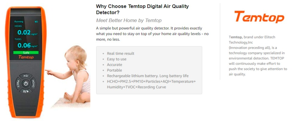 Temtop LKC-1000S+ Air Quality Detector Professional Formaldehyde Monitor  Temperature and Humidity Detector with PM2 5/PM10/HCHO