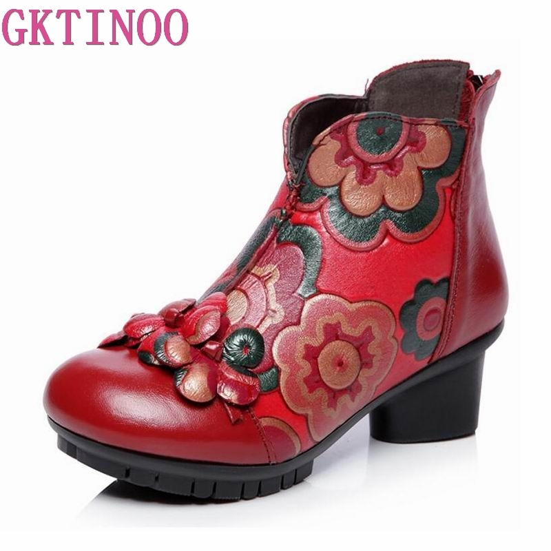 GKTINOO Handmade Women Shoes Square High Heels Autumn Winter Ankle Boots 2018 New Retro Flowers Genuine Leather Shoe Women Boots цена 2017