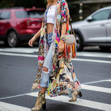 Paris Girl Bohemian Printed Half Sleeve Summer Beach Wear Long Kimono Cardigan Cotton Tunic Women Tops Blouse Shirt Sarong Plage
