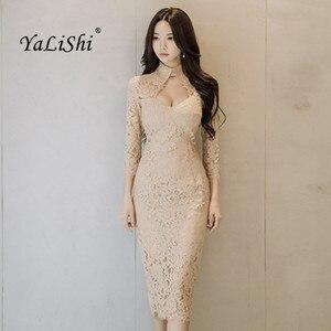 Женское офисное облегающее платье-карандаш, элегантное кружевное винтажное платье с длинным рукавом, вечерние облегающие платья, весна 2020