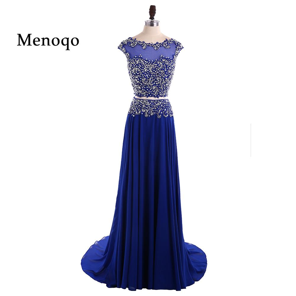 A Line Formal 2 Pieces Prom Dresses robe de bal Floor Length Formal Evening Prom Party