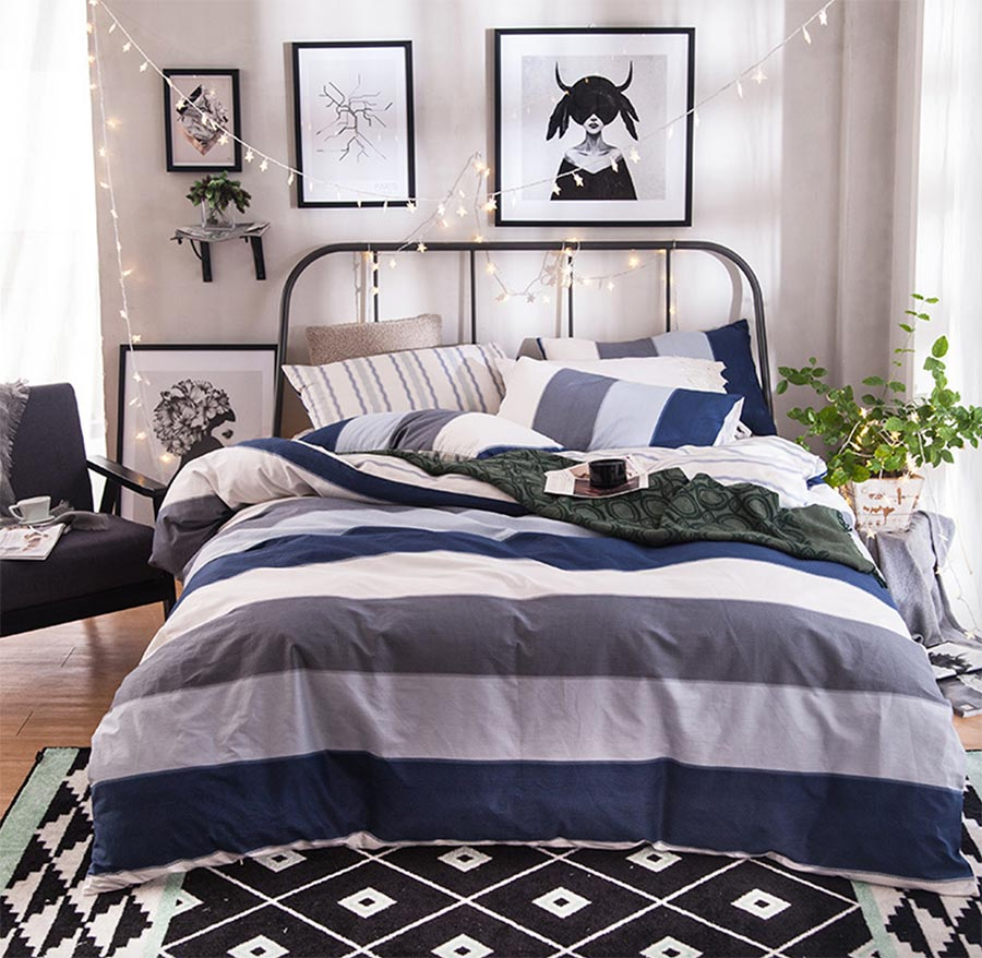 mens comforter sets queen promotionshop for promotional mens  - geometric stripes bedding set adult teen kid manly boycotton full queenmodern home textiles bed sheet pillow cases quilt cover