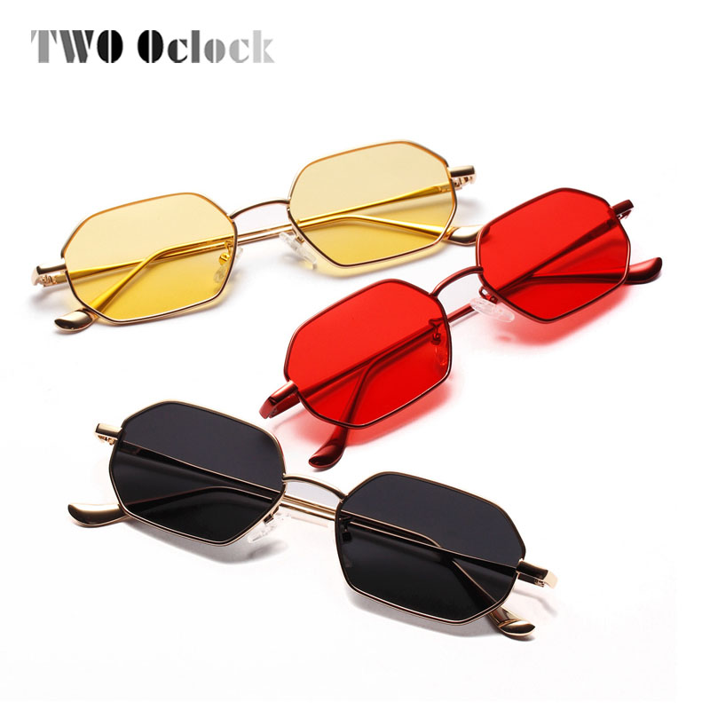 TWO Oclock Retro Sunglasses Women Yellow Red Lens Sun Cloudy Glasses UV400 Ultra-light Sunglass Vintage Metal Eyewear 881304