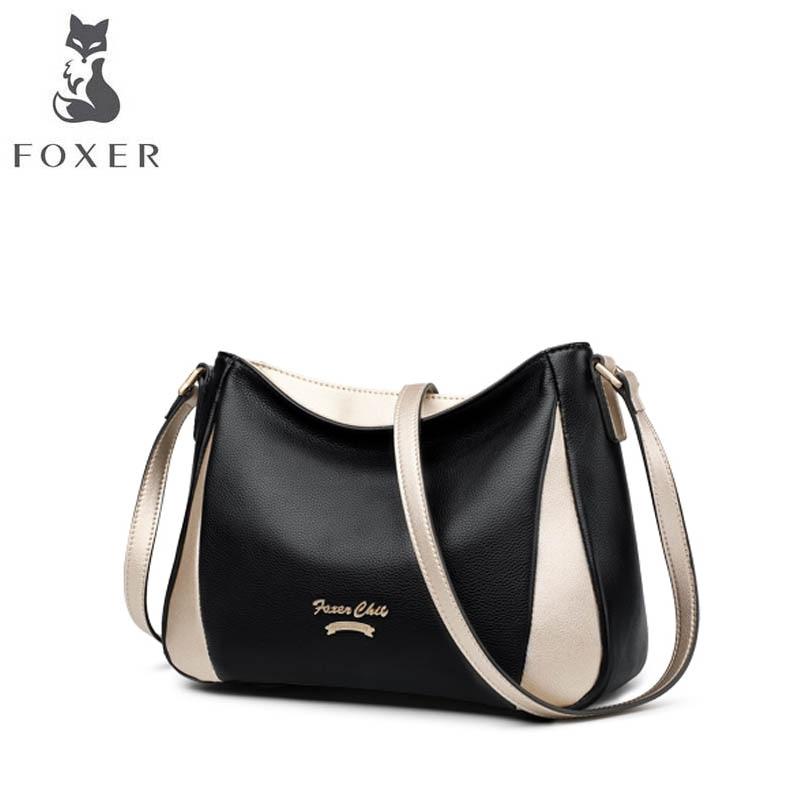 FOXER luxury fashion leather handbag 2018 new top layer leather contrast color shoulder bag simple wild summer Messenger bag lace crochet contrast open shoulder top