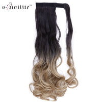 SNOILITE 18 Inch Synthetic Long Curly Ponytail Clip In Pony Tail Hair Extensions Wrap On Hairpieces