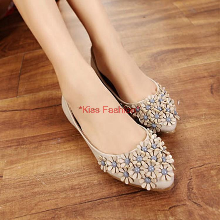 Free Shipping Womens Flat Shoes Cute Flower Beaded Beef