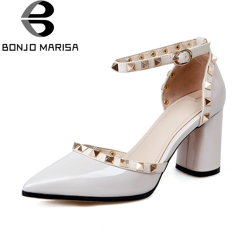 BONJOMARISA New women's Genuine Leather High Square Heel Pointed Toe Rivet Ankle Strap Shoes Woman Party Pumps Size 34-39 esveva 2017 ankle strap high heel women pumps square heel pointed toe shoes woman wedding shoes genuine leather pumps size 34 39