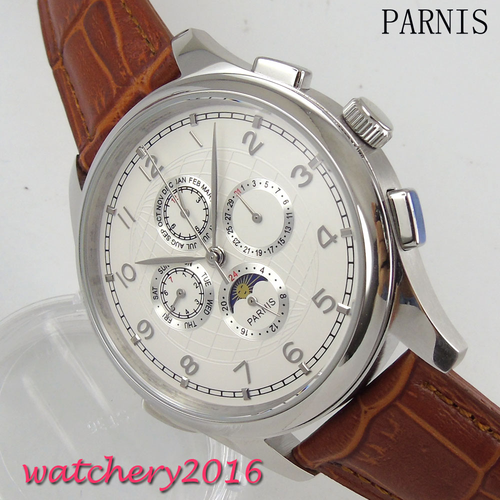 44mm Parnis Moon phase white dial date adjust Stainless steel polished case Leather Strap automatic movement