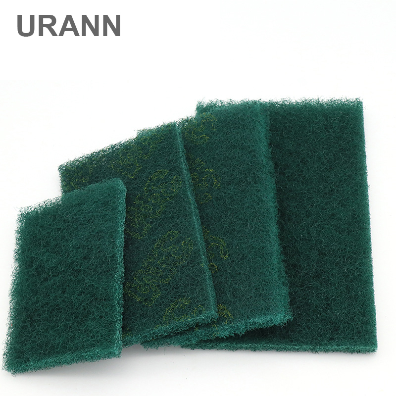 URANN 1pcs Green Industrial Scouring Pad Coarse Scotch Brite Flexible Nonwoven Scouring Hand Pad Industry Kitchen Cleaning Cloth