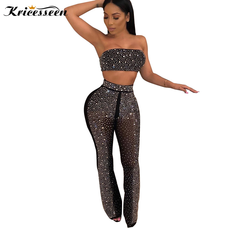 Kricesseen Sexy Strapless Rhinestone Details Pants Set 2 Pieces Women Vintage Sequins Jumpsuit Club Overalls Plus Size