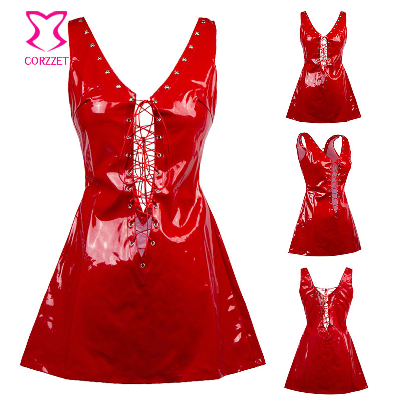 Deep V Neck Lace Up Sleeveless Backless Short Red PVC Fetish Dress Club Wear Latex Rubber Dresses Hot Sexy Erotic Lingerie Women 5