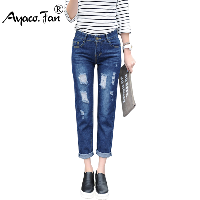 Plus Size 2017 Summer Jeans For Women Loose Ripped Boyfriend Jeans Lady Denim Pants Stretch Women Trousers Calca Feminina цена 2017
