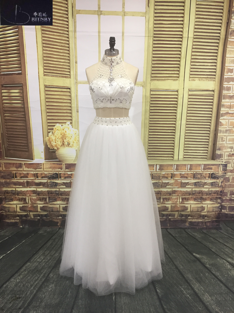 The Best Halter Button Front Wedding Dresses Lace Top Chiffon With Belt Real Photo Factory Custom Made Els007 Wedding Dresses