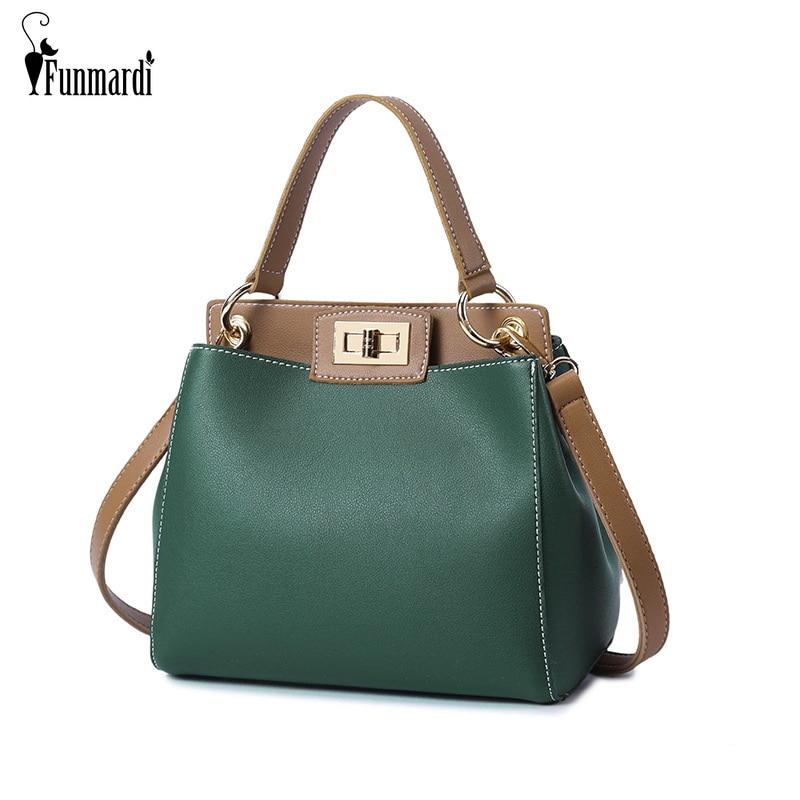 FUNMARDI Fashion Women Crossbody Bag Lock Design Women Hand Bag Small Messenger Bag Female PU Leather Shoulder Bag WLHB1803