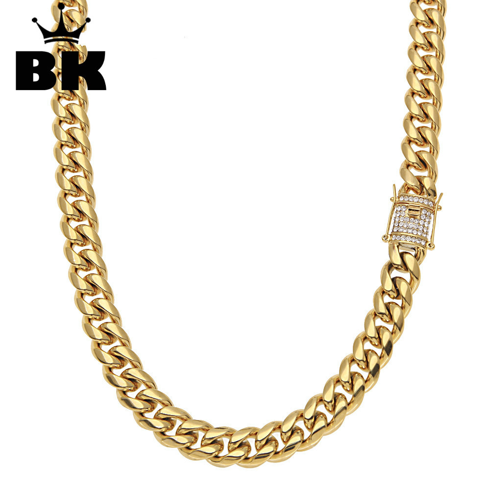 12mm Stainless Steel Curb Cuban Chain Iced Out Rhinestone Men Hip Hop Gold Finish Link Miami Chain 75cm Long Chain Drop Shipping 8mm 10mm 12mm 14mm stainless steel curb cuban link chain hip hop punk heavy gold silver plated cuban necklace for men