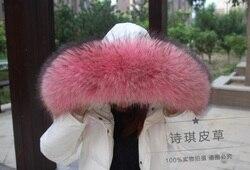 Kleurrijke Echt Wasbeer Bont Afneembare Kraag Sjaals Mode Jas Trui Luxe Wasbeer Bontkraag TKC006-peach