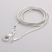 1MM 16 18 20 22 24 Hot Sale Fashion Different Sizes 925 Silver Snake Chain Necklace