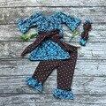 Bebé ropa de las muchachas muchachas Damasco ropa de los bebés de traje con cinturón arcos niñas polka dot colmena del pantalón con diadema partido